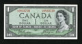 Canadian Currency: , BC-29b $1 Devil's Face Portrait.. This Choice About Uncirculatednote shows top edge handling....