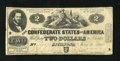 Confederate Notes:1862 Issues, T42 $2 1862. This note is bright for the grade and it also has niceedges. Several pinholes are observed. Fine....