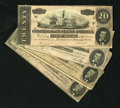 Confederate Notes:1864 Issues, T67 $20 1864. Grades range from Fine to CU, with the best note of the four having a pinhole.. ... (Total: 4 notes)