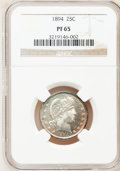 Proof Barber Quarters: , 1894 25C PR65 NGC. NGC Census: (63/68). PCGS Population (43/29). Mintage: 972. Numismedia Wsl. Price for problem free NGC/P...