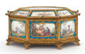 Paintings, A FRENCH SÈVRES-STYLE PORCELAIN OCTAGONAL CASKET WITH GILT BRONZE MOUNTS . Probably Paris, France, circa 1900. Marks: spurio...