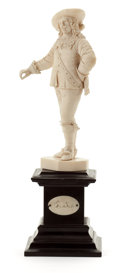 Decorative Arts, Continental:Other , A CONTINENTAL CARVED IVORY FIGURE . Probably Dieppe, France, circa1880. Unmarked. 11-1/2 inches high (29.2 cm) (with wood p...