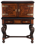 Furniture : Continental, A CONTINENTAL AMBOYNA AND TORTOISESHELL CABINET ON STAND . PossiblyAntwerp, Flanders, 18th century. Unmarked. 51-1/8 x 38-1...