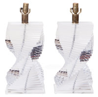 The Collection of Paul Gregory and Janet Gaynor  A PAIR OF STACKED CONTEMPORARY LUCITE LAMPS Ame