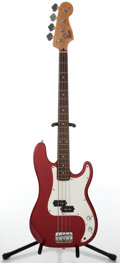 Musical Instruments:Bass Guitars, 2000s Fender Squier P-Bass Candy Apple Red Electric Bass Guitar, #IC 050443052. ...