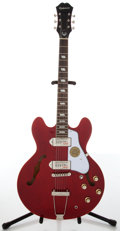Musical Instruments:Electric Guitars, 2000s Epiphone Casino Cherry Red Hollow Body Electric Guitar,#09121501460....