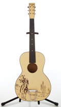 Musical Instruments:Acoustic Guitars, Circa 1950 Del Oro Cowboy Stencil Yellow Acoustic Guitar. ...