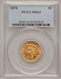 Three Dollar Gold Pieces: , 1878 $3 MS63 PCGS. PCGS Population (834/946). NGC Census:(563/768). Mintage: 82,304. Numismedia Wsl. Price for problemfre...