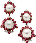 Estate Jewelry:Earrings, South Sea Cultured Pearl, Ruby, Diamond, Gold Earrings. ...