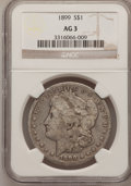 Morgan Dollars: , 1899 $1 AG3 NGC. NGC Census: (2/7034). PCGS Population (2/9898).Mintage: 330,846. Numismedia Wsl. Price for problem free N...
