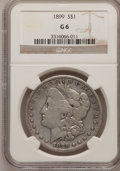 Morgan Dollars: , 1899 $1 Good 6 NGC. NGC Census: (4/7027). PCGS Population (3/9891).Mintage: 330,846. Numismedia Wsl. Price for problem fre...