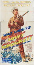 "Movie Posters:Western, Davy Crockett, King of the Wild Frontier (Buena Vista, 1955). Three Sheet (41"" X 81""). Western.. ..."