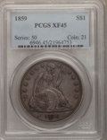 Seated Dollars: , 1859 $1 XF45 PCGS. PCGS Population (18/75). NGC Census: (7/62).Mintage: 255,700. Numismedia Wsl. Price for problem free NG...