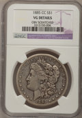 Morgan Dollars: , 1885-CC $1 --Obverse Scratched--NGC Details. VG. NGC Census: (0/7978). PCGS Population (9/17330). Mintage: 228,000. Numismed...