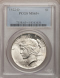 Peace Dollars, 1922-D $1 MS65+ PCGS. PCGS Population (1029/145). NGC Census:(782/217). Mintage: 15,063,000. Numismedia Wsl. Price for pro...