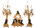 Decorative Arts, French:Other , A FRENCH LOUIS XV-STYLE GILT AND PATINATED BRONZE THREE-PIECE CLOCK GARNITURE . Probably Paris, France, circa 1900. Marks: M... (Total: 3 Items)