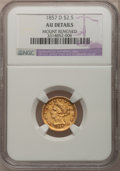 Liberty Quarter Eagles: , 1857-D $2 1/2 --Mount Removed--NGC Details. AU. NGC Census: (3/48).PCGS Population (10/45). Mintage: 2,364. Numismedia Wsl....