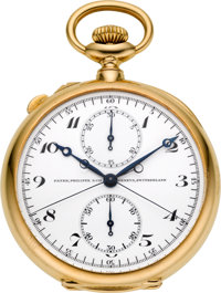 Patek Philippe & Cie. Exceptional 18k Gold Split Seconds Chronograph With Instantaneous 30-Minute Register, circa 19...