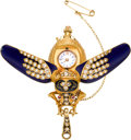 Timepieces:Pendant , Swiss Fine Gold, Enamel & Diamond Scarab Form Watch, circa1900. ...