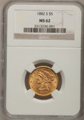 1882 $5 MS62 NGC. NGC Census: (2316/1660). PCGS Population (1190/744). Mintage: 2,514,568. Numismedia Wsl. Price for pro...