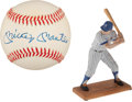 Baseball Collectibles:Balls, Mickey Mantle Single Signed Baseball and Unsigned Sports Impressions Figure....