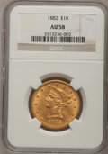 Liberty Eagles: , 1882 $10 AU58 NGC. NGC Census: (339/10744). PCGS Population(392/5109). Mintage: 2,324,480. Numismedia Wsl. Price for probl...