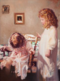 American:Portrait & Genre, NELDA PIEPER (American, 20th Century). Two Little Girls. Oilon canvas. 40 x 30 inches (101.6 x 76.2 cm). Signed lower r...