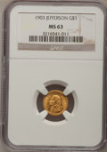Commemorative Gold: , 1903 G$1 Louisiana Purchase/Jefferson MS63 NGC. NGC Census:(257/1447). PCGS Population (543/2200). Mintage: 17,500. Numism...