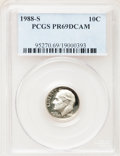 Proof Roosevelt Dimes: , 1988-S 10C PR69 Deep Cameo PCGS. PCGS Population (2034/98). NGCCensus: (252/56). Numismedia Wsl. Price for problem free N...