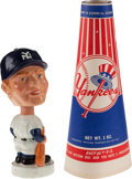 "Baseball Collectibles:Others, 1961-63 Mickey Mantle ""White Base"" Mini Nodder and Vintage Yankees Megaphone Lot...."