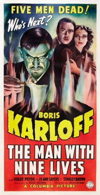 "The Man with Nine Lives (Columbia, 1940). Three Sheet (41"" X 81"")"