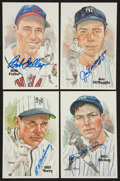 Baseball Collectibles:Others, 1980 Perez Steele Signed Hall of Fame Postcards Lot....
