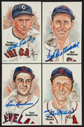 Baseball Collectibles:Others, 1981 Perez Steele Signed Hall of Fame Postcards Lot....