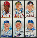 Baseball Collectibles:Others, 1985 Perez Steele Signed Hall of Fame Postcards Lot....