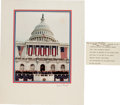 Autographs:Statesmen, Warren E. Burger's Cue Card Used During Ronald Reagan's Swearing InCeremony as President. Together With an Oversized Photogra...
