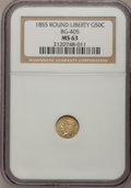 California Fractional Gold: , 1855 50C Liberty Round 50 Cents, BG-405, R.5, MS63 NGC. NGC Census:(2/0). PCGS Population (4/1). (#10441)...