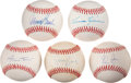 Autographs:Baseballs, Baseball Hall OF Famers Single Singed Baseballs Including Mays, andRyan Lot Of 5....