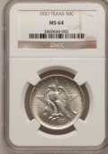 Commemorative Silver: , 1937 50C Texas MS64 NGC. NGC Census: (216/833). PCGS Population(419/1036). Mintage: 6,571. Numismedia Wsl. Price for probl...