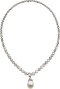 Estate Jewelry:Necklaces, South Sea Cultured Pearl, Diamond, Platinum Necklace. ...