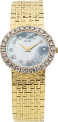 Estate Jewelry:Watches, Piaget Lady's Diamond, Mother-of-Pearl, Gold Integral Bracelet Wristwatch, circa 1980. ...