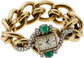 Estate Jewelry:Watches, Hamilton Lady's Diamond, Emerald, Gold Watch, Retailed by NeimanMarcus. ...