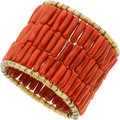 Estate Jewelry:Bracelets, Coral, Gold Bracelet. ...