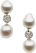 Estate Jewelry:Earrings, South Sea Cultured Pearl, Diamond, White Gold Earrings. ...