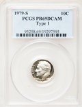 Proof Roosevelt Dimes: , 1979-S 10C Type One PR69 Deep Cameo PCGS. PCGS Population(4608/262). Numismedia Wsl. Price for problem...