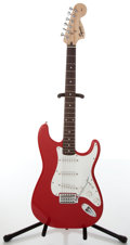 Musical Instruments:Electric Guitars, 1990s Fender Squier Strat Red Electric Guitar, #IC010510426....