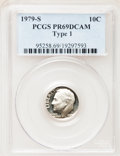 Proof Roosevelt Dimes: , 1979-S 10C Type One PR69 Deep Cameo PCGS. PCGS Population(4592/258). Numismedia Wsl. Price for problem...