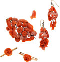 Estate Jewelry:Suites, Victorian Carved Coral, Gold Jewelry Suite. ... (Total: 5 Items)