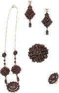 Estate Jewelry:Suites, Victorian Bohemian Garnet, Gold Jewelry Suite. ... (Total: 5 Items)