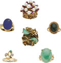 Estate Jewelry:Lots, Multi-Stone, Gold Rings. ... (Total: 6 Items)