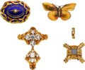 Estate Jewelry:Lots, White Topaz, Foilback Stone, Enamel, Gold Jewelry . ... (Total: 4 Items)